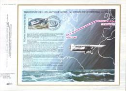 Feuillet CEF Premier Jour FDC Document  -  Charles Lindbergh - Traversée De L´Atlantique Nord - Aerei