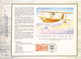 Feuillet CEF Premier Jour FDC Document  -  Hydravion CAMS 53 - Aerei
