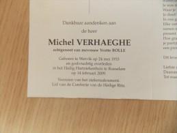 Doodsprentje Michel Verhaeghe Wervik 24/5/1933 Roeselare 14/2/2009 ( Yvette Bolle ) - Religion & Esotericism
