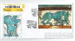 ANDORRE ESPAÑOL. BF Le Lion De Sant Marti De La Cortinada.Belle Lettre Recommandée FDC Adressée En Catalogne - Andorre Espagnol