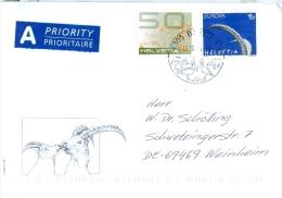 Schweiz Brittnau SST 2014 Vögel Storch 90 C. Europa 1999 Gamsbock + 50 C. Getreide Hafer 2008 Gamsböcke - Stamps