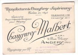 Carte De Visite Manufacture De Chaussures Malbert Angers Maine Et Loire  Rue De Thiers - Cartes De Visite
