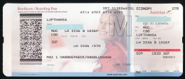 Titre De Transports, Boarding Pass : MUNICH - PARIS CHARLES DE GAULLE, Lufthansa, By Austrian Airlines, Classe Economy - Europe