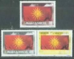 MK 1993-04-6 FLAG, MAKEDONIA, 3v, MNH - Briefmarken