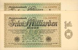 Deutschland, Germany - SET 2 X 10 Mrd. Mark, Reichsbanknote, Ro. 113 D ,  ( Serie K ) UNC - XF, 1923 ! - 10 Milliarden Mark