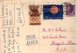 Cartolina Postale SIRACUSANA L. 25;  Inviata Da Roma A Chicago, USA, Il 28.10.1960, - Interi Postali