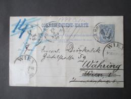 Ganzsache / Rohrpost 1888 Weiterverwendung Zusatzfrankatur Abgelöst! 5 Stempel!! Aufgegeben 8.35Uhr Angekommen 10.30 Uhr - Entiers Postaux