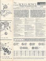 Ancienne Fiche De Montage, Voiture THE CLASSIC ROLLS-ROYCE, PHANTOM II CONVERTIBLE (1931) Monogram Models, 1/24, 8 Pages - Model Making