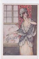 """CARD BRIARE'E  """" IDILLIO!""""  DONNINA BIGLIETTO AMOROSO  ART DECO  CHARME     -FP-N-2- 0882-21841 - Illustrators & Photographers"""