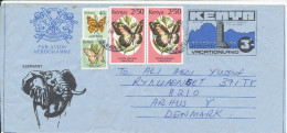 Kenya Aerogramme Uprated And Sent To Denmark 28-6-1991 With More BUTTERFLY Stamps - Kenya (1963-...)