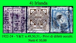 Irlanda-004 - 1922-24 - Y&T: N.49, 50, 51, - Privi Di Difetti Occulti - - 1922-37 Stato Libero D'Irlanda
