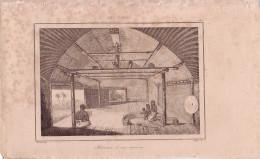 TONGA - INTERIEUR D'UNE MAISON - GRAVURE VOYAGE RIENZI 1847 - FORMAT DOCUMENT 13.5x22cm. - Documentos Antiguos