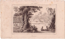 TONGA - CIMETIERE - GRAVURE VOYAGE RIENZI 1847 - FORMAT DOCUMENT 13.5x22cm. - Documentos Antiguos