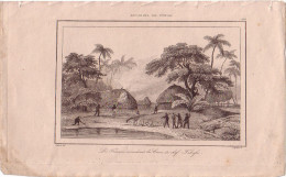 TONGA - LES FRANCAIS INCENDIANT LES CASES DU CHEF FAHOFA - GRAVURE VOYAGE RIENZI 1847 - FORMAT DOCUMENT 13.5x22cm. - Documentos Antiguos