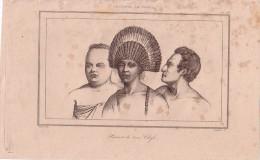 TONGA - PORTRAIT DES TROIS CHEFS - GRAVURE VOYAGE RIENZI 1847 - FORMAT DOCUMENT 13.5x22cm. - Documentos Antiguos