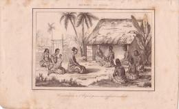 TONGA - CONSULTATION A L'ESPRIT POUR UN ENFANT MALADE - GRAVURE VOYAGE RIENZI 1847 - FORMAT DOCUMENT 13.5x22cm. - Documentos Antiguos