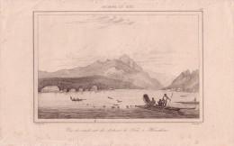 TAITI- VUE DU NORD-EST DE FARI A HOUAHINE - GRAVURE VOYAGE RIENZI 1847 - FORMAT DOCUMENT 13.5x22cm. - Documentos Antiguos