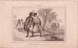 POLYNESIE - LE SALUT DES NOUVEAUX ZELANDAIS - GRAVURE VOYAGE RIENZI 1847 - FORMAT DOCUMENT 13.5x22cm. - Documentos Antiguos
