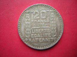UNE PIECE DE 20 FRANCS 1938   P TURIN  ARGENT - L. 20 Francos