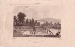 GERMANIE - PONT POUR LE PASSAGE DES TROUPES - GRAVURE DE1847 - FORMAT DOCUMENT 13.5x22cm. - Documentos Antiguos
