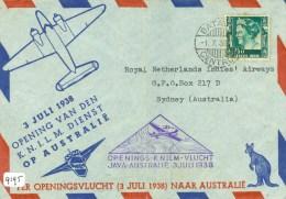 LP * NEDERLANDS-INDIE * BRIEFOMSLAG Uit 1938 Van BATAVIA Naar SYDNEY OPENINGSVLUCHT KNILM JAVA-AUSTRALIE  (9195) - Netherlands Indies