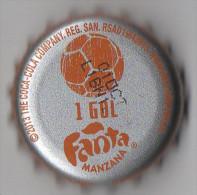 """COLOMBIA-"""" FANTA - MANZANA """" - 1 GOL   - BOTTLE CROWN CAP / KRONKORKEN /TAPPI-USED"""
