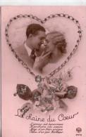 Belle Carte Brodée.. Couple.. Amour.. Amoureux.. Brillants.. La Chaîne Du Coeur.. Bonheur
