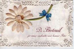 """Belle Carte Brodée.. Bonne Fête.. """"De Breteuil"""".. Fleurs.. Marguerite"""