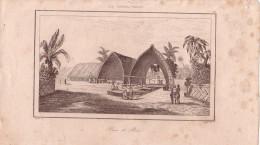 ILE TONGA-TABOU - PLACE DE BEA - GRAVURE DU VAYAGE DE RIENZI 1847 - FORMAT DOCUMENT 13.5x22cm. - Documentos Antiguos