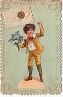 """Belle Carte Brodée.. Enfant.. Lettre.. Message.. """"Bonne Année"""".. Bouquet De Fleurs"""