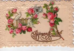 """Belle Carte Brodée.. """"Bonne Année"""".. Colombes.. Roses"""