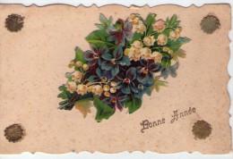 "Belle Carte Brodée.. ´Bonne Année"".. Fleurs.. Muget"