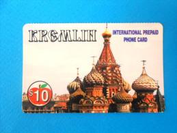 KREMLIN $10 ( Usa Internationlal Prepaid Card ) ** MOSCOW - RUSSIA RELATED CARD ** GSM Remote Prepayee Carte - Vereinigte Staaten