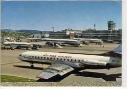 ZÜRICH Airport  Mit Austrian Airlines AUA Caravelle-Jet, Swissair, Iberia ....... - ZH Zurich