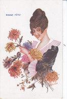 Illustrateur SAGER Xavier, Noyer Serie 46/236, Femmes Et Fleurs, Dahlia, écrite - Sager, Xavier