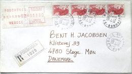 Vignette D'affranchissement Timbre De Distributeur 1985 POUZAUGES  VENDEE Valeur 01110? Sur Recommandée Vers Le Danemark - EMA (Empreintes Machines à Affranchir)