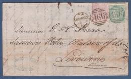 GRAN BRETAGNA-1861- 2 Valori Da 6 P. E 1 S.(catalogo N. 19/20) Su Manoscritto Da Liverpool A Livorno-in Buone Condizioni - 1840-1901 (Regina Victoria)