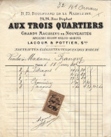 Facture De 1886 - Aux Trois Quartiers 21, 23 Bd De La Madeleine Et 24, 26 Rue Duphot Paris 1er - FRANCO DE PORT - France