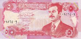 IRAQ 5 DINARS 1986 SADAM HUSSEIN  S/C  -  UNC