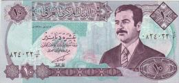 IRAQ  10 DINARS  SADAM HUSSEIN  S/C  -  UNC