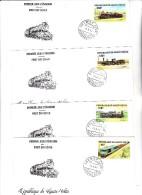 HAUTE - VOLTA - 4 LETTRES PREMIERS JOURS -SERIE LOCOMOTIVES  N° 624 A 627  ANNEE 1984 - Haute-Volta (1958-1984)