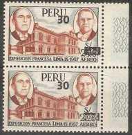 Peru - 1981 Air Surcharges Pair MNH **  SG 1507  Sc C503 - Peru