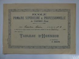TABLEAU D'HONNEUR - ECOLE PRIMAIRE SUPERIEURE & PROFESSIONNELLE DE CASTRES (TARN) - 1933 - Diplomas Y Calificaciones Escolares