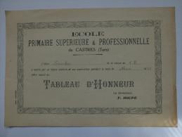 TABLEAU D´HONNEUR - ECOLE PRIMAIRE SUPERIEURE & PROFESSIONNELLE DE CASTRES (TARN) - 1935 - Diplomas Y Calificaciones Escolares