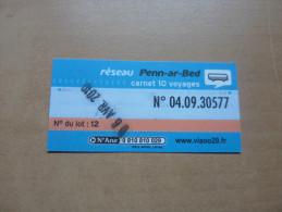 Ticket de Bus r�seau Penn-ar-Bed (carnet) bleu type (N� du lot 12)