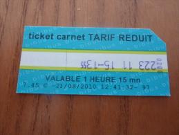 "Ticket de Bus BIBUS ""ticket carnet TARIF REDUIT"" Edition 2010 BREST(29)"