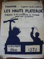 PERIODE REVOLTE ETUDIANTE MAI 68 69 70 AFFICHE  ORIGINALE TRES RARE  THEATRE LES HAUTS PLATEAUX LYCEE SAINT LOUIS PARIS