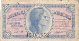 BILLETE 1937 - 50 CENTIMOS - REPUBLICA ESPAÑOLA - [ 2] 1931-1936 : République
