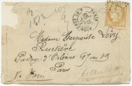 N°55 Sur Lettre  De Paris Datée Du 13 Fevr 76 Pour Paris( Beaucoup De Cachets Au Dos) - 1871-1875 Ceres