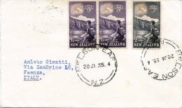 Brief NEW ZEALAND 1955 - 3 Fach Frankiert, Gel.v.New Zealand > Faenza Italien - Neuseeland